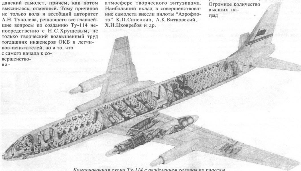 Компоновочная схема Ту-114 с .