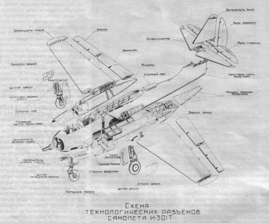 Схема технологических разъемов самолета И-301Т.  Авиация и Космонавтика 2002-07 / Е.Арсеньев - Самолеты ОКБ им...
