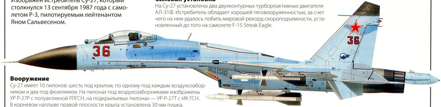 Изображен истребитель Су-27,